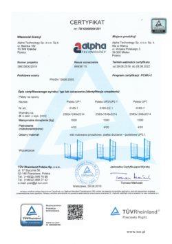 TUV Certyfikat TM palety na opony