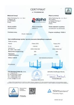 TUV Certificate of pallets for tires